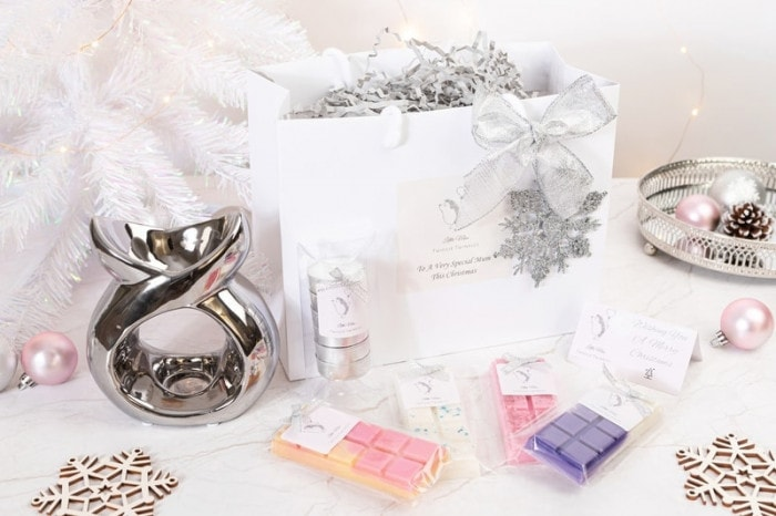 Christmas presents for mum gift bag with large serenity wax burner